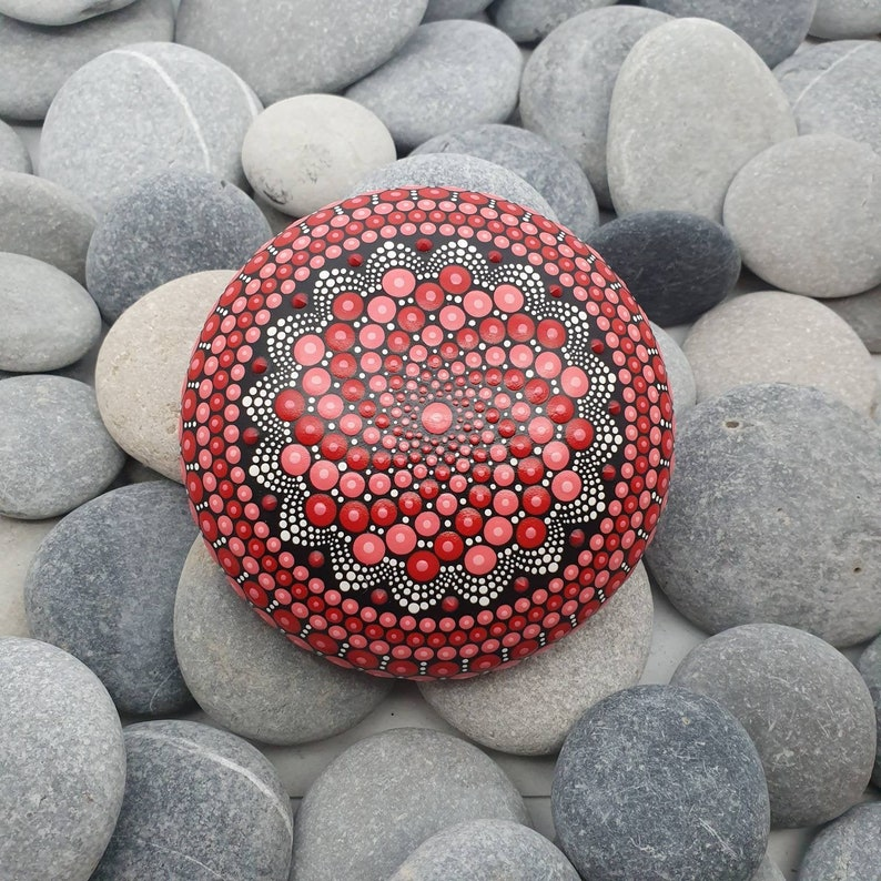 Red Painted Mandala Stone image 0