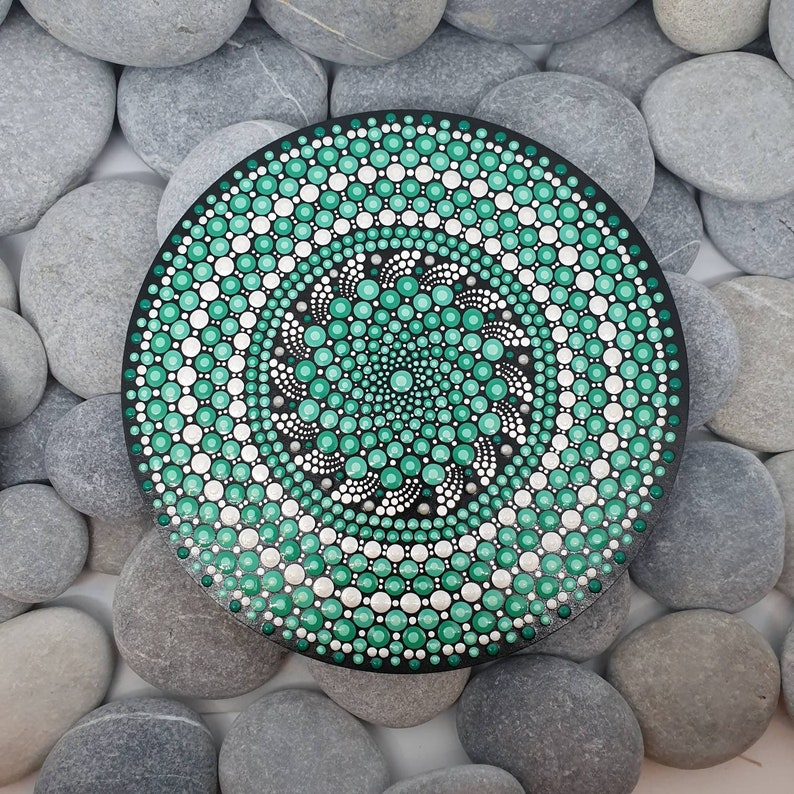 Green Mandala Dot Art Painting image 0