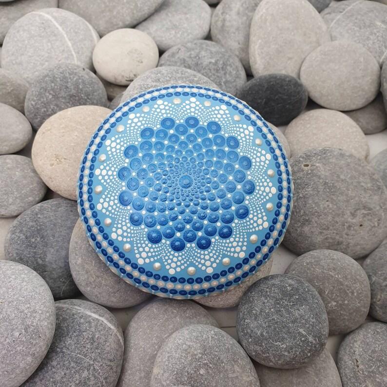 Large Blue Mandala Painted Stone image 0