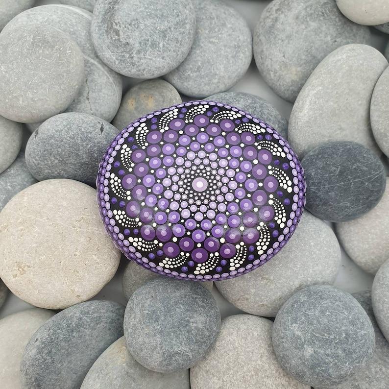 Purple Painted Rock Unique Paperweight image 0