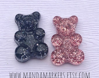 bf19d78c7 Candy Bears Customized with 2 Initials Rose Gold and Black Glitter