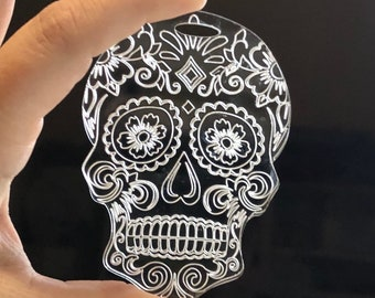 3f8978f7 RadPad Etched Acrylic Sugar Skull for Holding Xray Markers