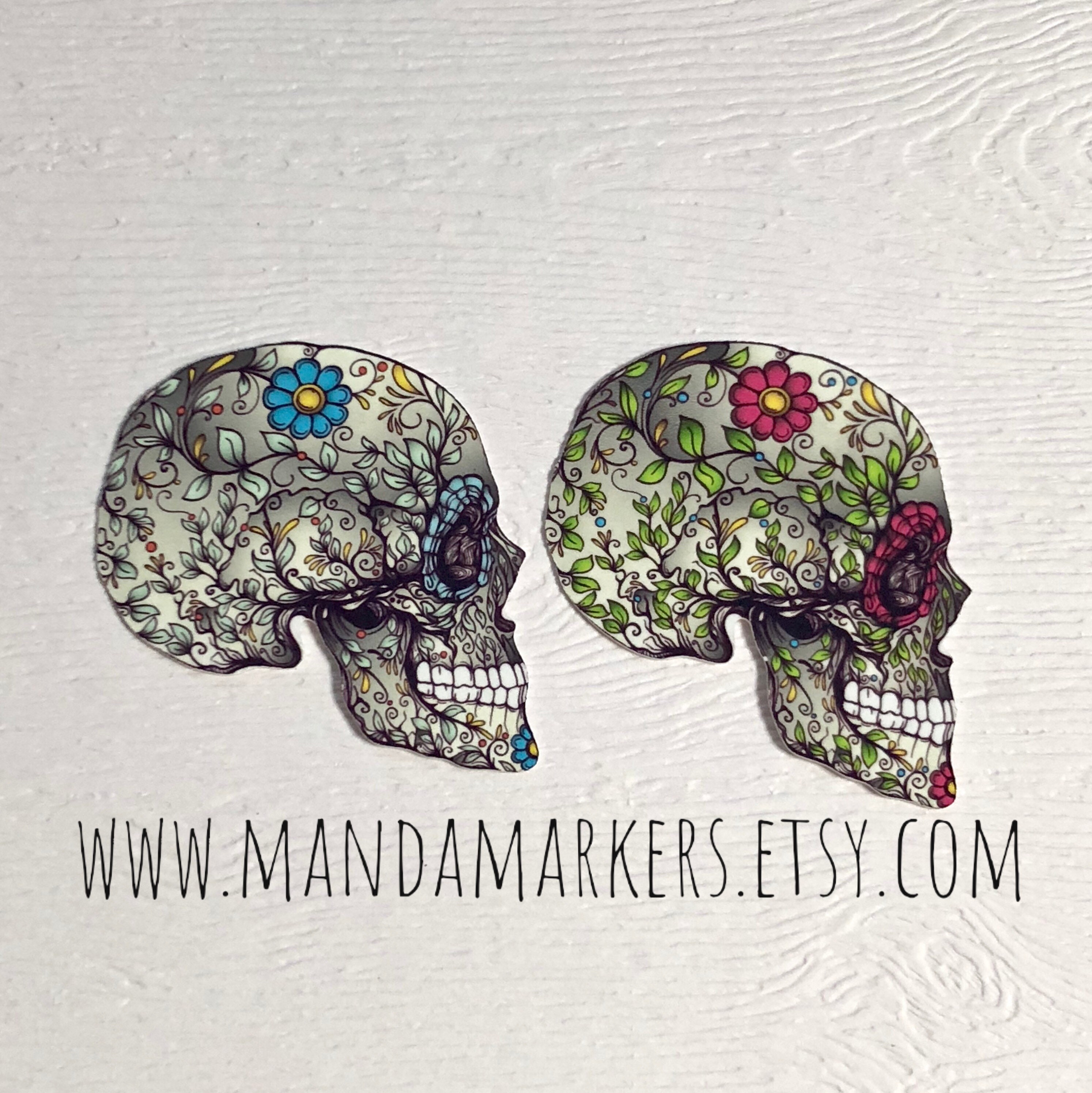 Floral skull x-ray markers with initials