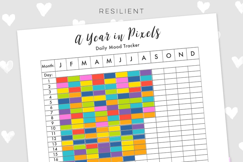 graphic relating to Year in Pixels Printable referred to as A 12 months inside Pixels Temper Tracker - Electronic Day by day Temper Tracker Printable, Annually Temper Tracker, Self Aid Printable, Psychological Fitness Printable