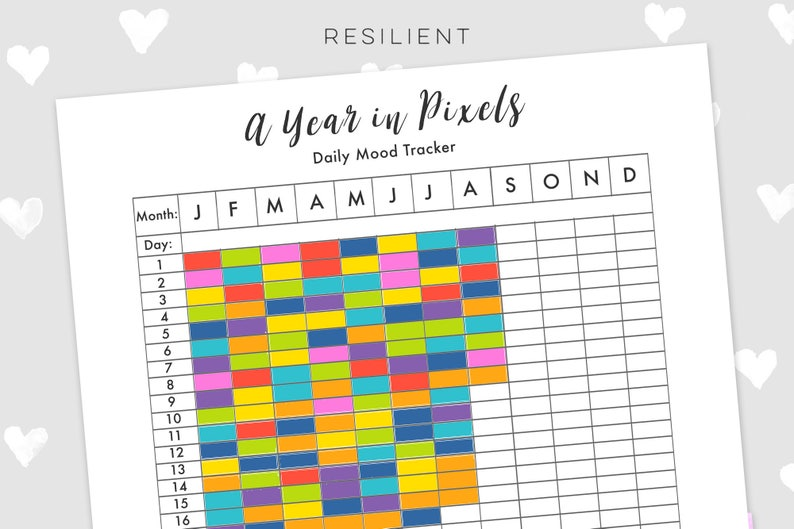 photo about Year in Pixels Printable identify A Yr inside of Pixels Temper Tracker - Electronic Everyday Temper Tracker Printable, Each year Temper Tracker, Self Support Printable, Psychological Exercise Printable