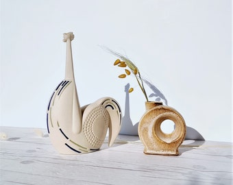 Mid Century European Studio Pottery Scandinavian style Modernist Cockerel Bird small Ceramic Wall Plaque