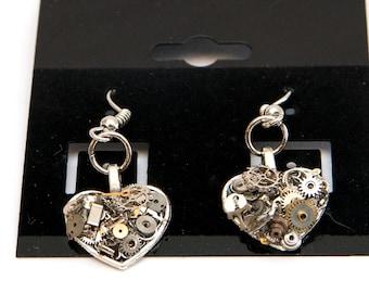 Small hanging Steampunk heart earrings