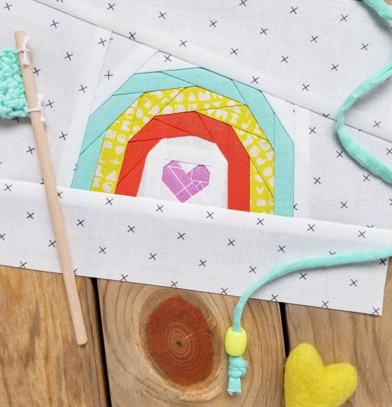 Rainbow & Heart Paper Piecing Pattern PDF image 0