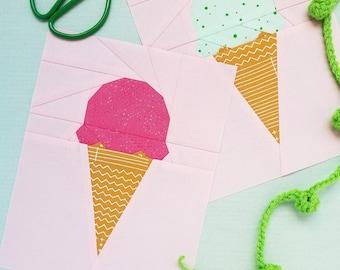 Ice Cream Scoop Paper Piecing Pattern, PDF