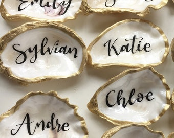 Beach Combed Oyster shell place cards / name place settings / wedding favours / gold theme / silver theme/ copper theme / rose gold theme