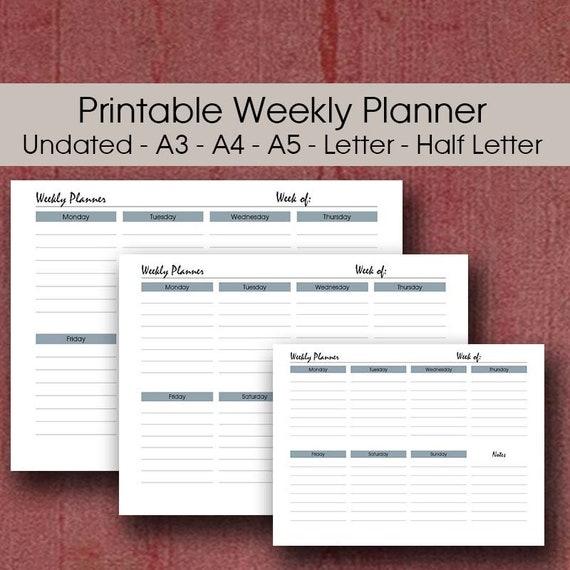 landscape weekly planner a3 desk planner a5 filofax insert etsy