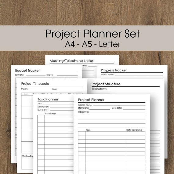 Project Planner Printable Bundle A4 A5 Letter Business Etsy