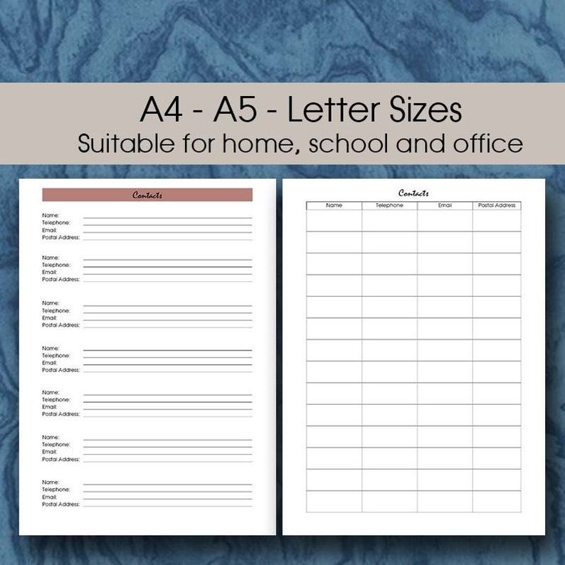 Printable Phone Book Insert A5 | A4 and Letter | Contact List