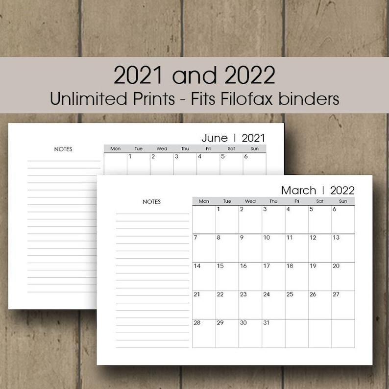 Monthly Planner Printable Filofax 2021 2022 Calendar ...