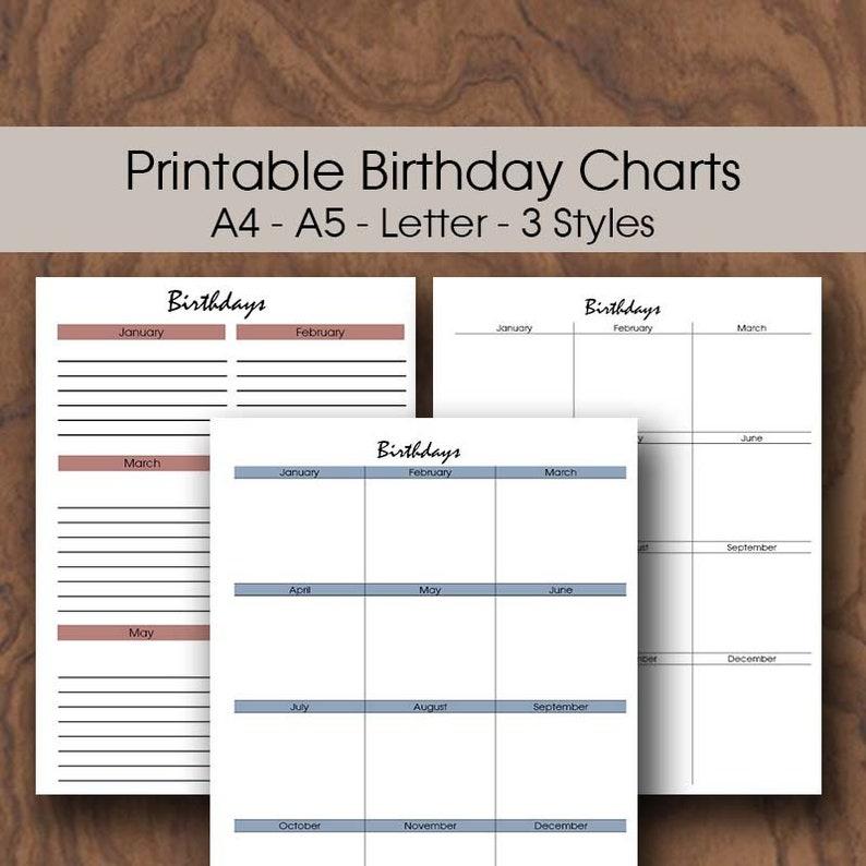 Classroom Birthday Chart Printable