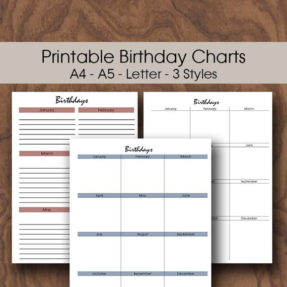 Classroom Birthday Chart Printable Planner Insert A5 A4