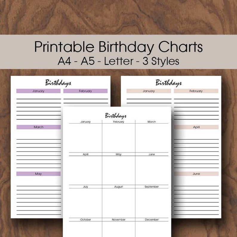 Classroom Birthday Chart Printable A4 A5 Letter