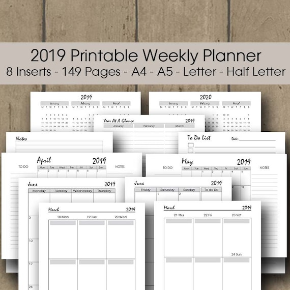 2019 happy planner printable a4 a5 letter half letter etsy