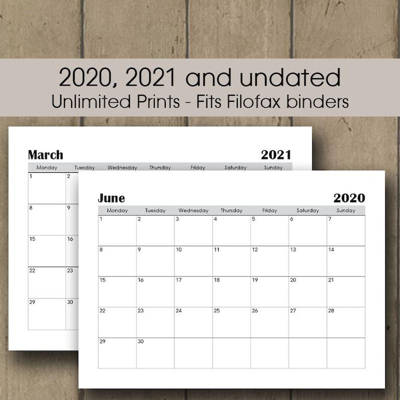 2020-2021 Printable Calendar Bundle A3 Wall Calendar 2020 ...