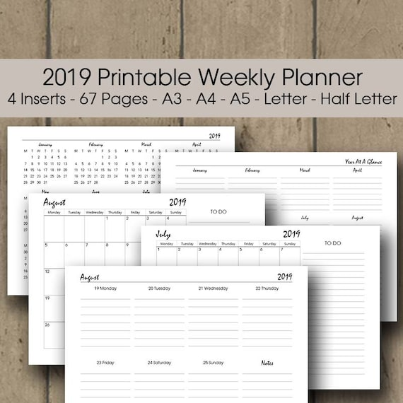 landscape weekly planner 2019 printable a3 a4 a5 letter etsy