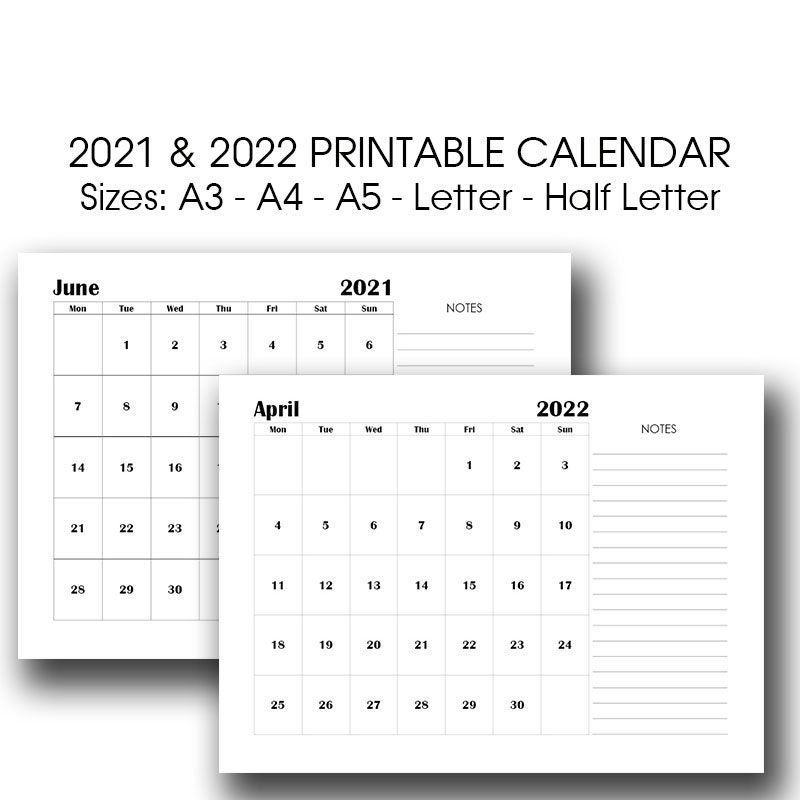 A3 Printable Calendar 2022 2022 Monthly Planner A4 A5 Etsy