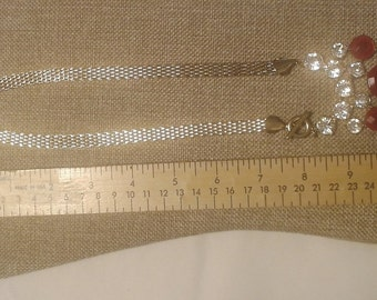 """Vintage 17"""" Gold Tone Mesh Necklace with Rhinestones and Faceted Acrylic Stones"""