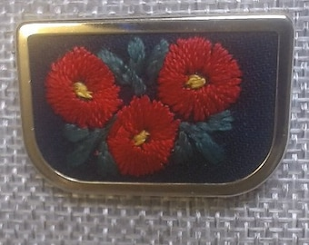 Vintage Uhlrig Brooch with Embroidered Flowers in Gold Tone Frame