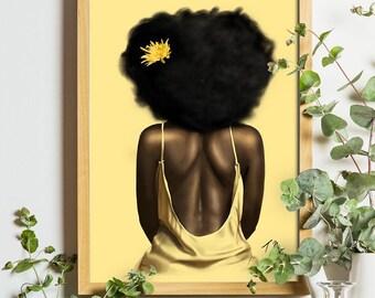 Glow, African American Wall Art Prints, Black Girl Magic, Black Art, Bedroom Wall Art, Living Room Wall Art, Afrocentric Female Portrait Art