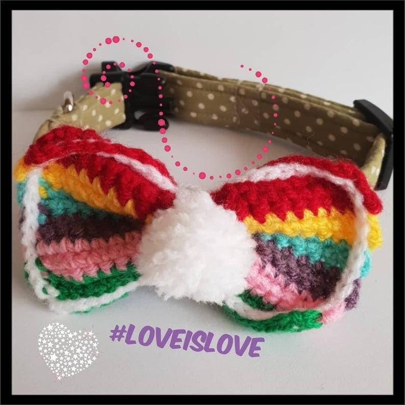 Crochet Rainbow Dog Bow Crochet Dog Collar Dog Bow Dog Etsy