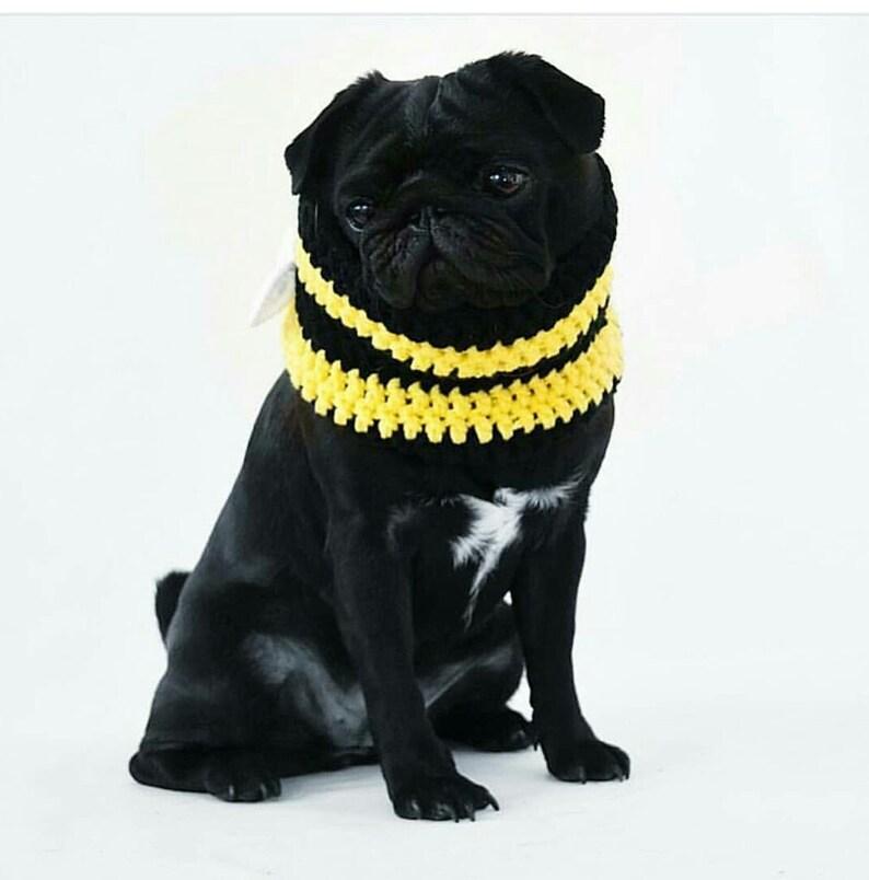 8cf47d0fc1e Crochet dog snood bumblebee snood pug bee snood dog
