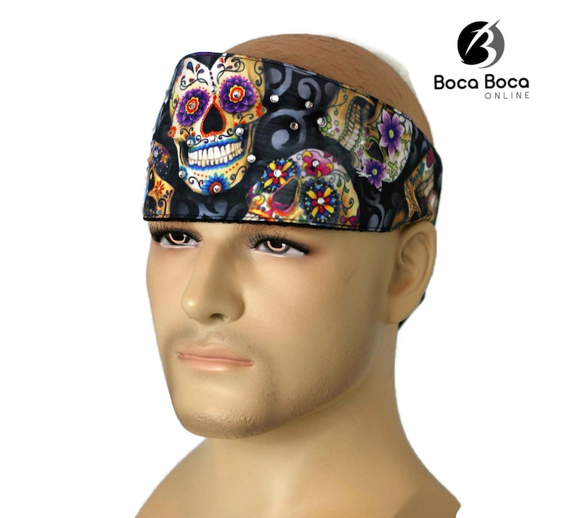 Pink Paisley Rhinestone Chop Top Biker Headband Bandanna Sweatband Headwrap