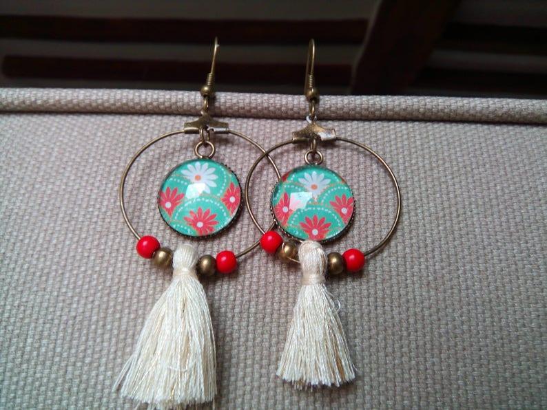 Earrings Creole BOC6 red flowers