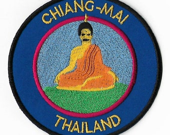 Chiang Mai Thailand Patch Golden Buddha Embroidered Iron / Sew on Badge Applique Asia Trek Buddhism Souvenir