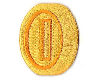 90a05df4ba8 Gold Coin Patch Super Mario Brothers (2 Inch) Embroidered Iron   Sew on  Badge Applique Souvenir Retro DIY Costume Mario Kart Allstars Snes