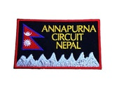 Annapurna Circuit Nepal Patch (3.5 Inch) Embroidered Iron Sew on Badge Applique Asia Trek Mountain Climbing Souvenir
