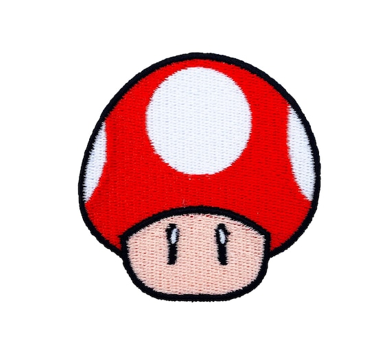 Red Mushroom Patch 2 Inch Super Mario Brothers Embroidered Etsy