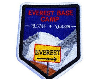 Mount Everest Base Camp Nepal Patch Embroidered Iron or Sew on Badge Applique Mountaineering Trek Trekking Souvenir