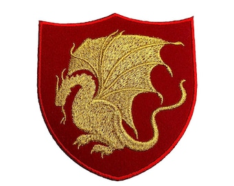 King Arthur Pendragon Patch (4 Inch) Red Velvet + Gold Embroidery Iron/Sew on Applique Embroidered Badge Costume Cosplay Cloak Robe Jacket
