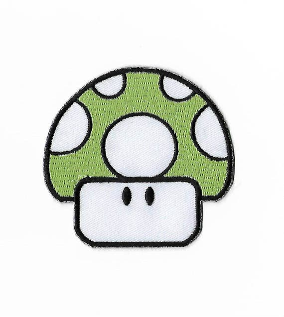 Super Mario Green Mushroom Patch for Embroidery Cloth Patches Badge Iron Sew On