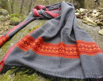 Noir et blanc rayé handloomed laine écharpe unisexe, wrap, volé f79b82a6754