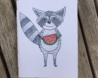Raccoon sketchbook, raccoon notebook, artists Sketchbook, kids Sketchbook, students Sketchbook, blank book, handbound book, handmade book