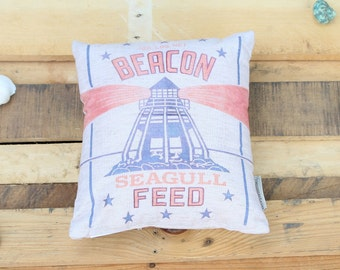 Summer Beach Pillow- Lighthouse Beacon Seagull Feed