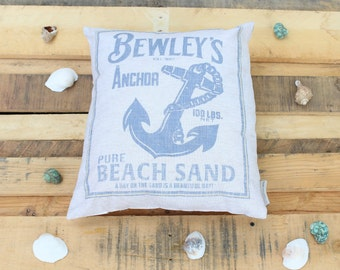 Summer Beach Pillow- Bewley's Anchor Pure Beach Sand