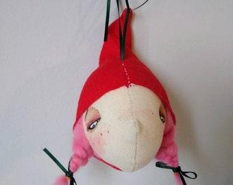 Christmas ornament, handmade ornament, one-of-a-kind ornament- Pinkie