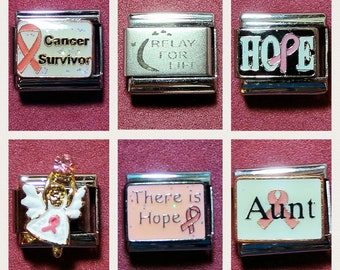 Breast Cancer Italian Charms - 9mm Size (Listing 2 of 2) Cancer Survivor, Aunt, Hope, Relay for Life