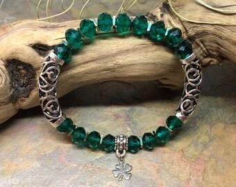 Irish Pride | St. Patricks lucky shamrock | Four Leaf Clover Bracelet