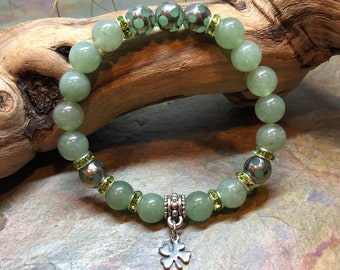 Irish Pride | St. Patrick's Day Shamrock | Lucky Four Leaf Clover | Green Bracelet | Irish Jewelry | Aventurine Stones
