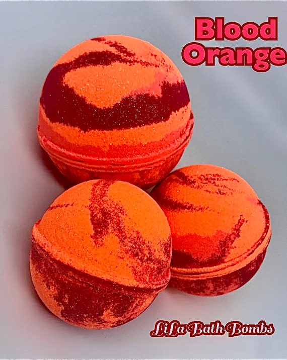 Blood Orange Bath Bomb! Non-Staining, Highly Pigmented, Fizzy, Foamy Fun! 5  sizes:1Lb to 3.5oz sized..FREE SHIPPING in the U.S!