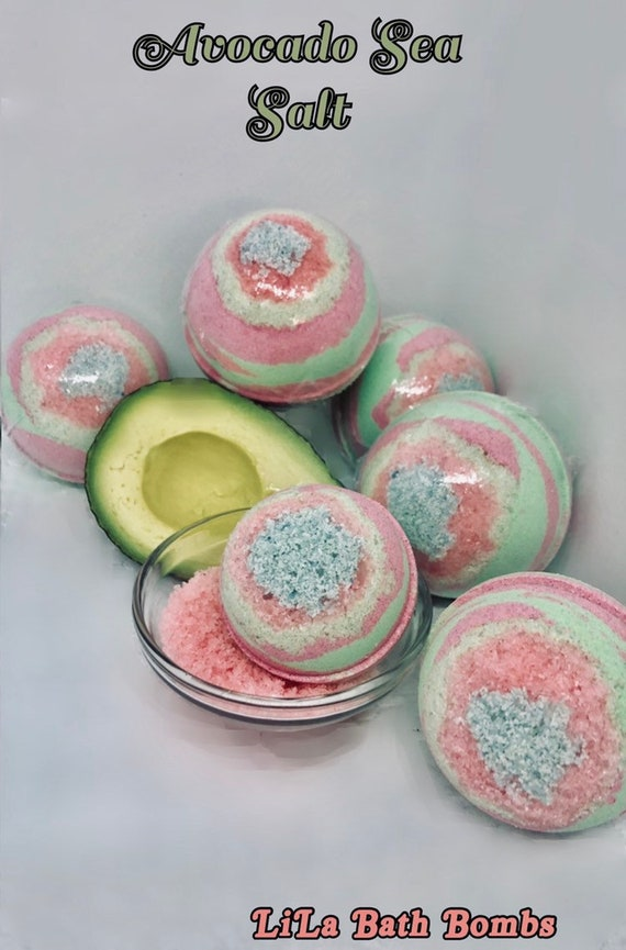 Avocado Sea Salt Bath Bomb! Non-Staining Color & Foamy Fresh Fun! In 5  Sizes: From 1Lb to 3.5oz Sized. Fast, FREE SHIPPING in the U.S.A.!