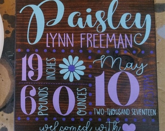 Custom Newborn Stats Wood Sign - Personalized Child/Birth Announcement wall hanging